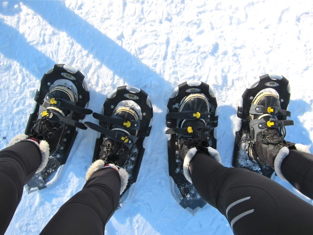 Um... something's wrong here. Just another Karen blunder...snowshoes on the wrong feet.
