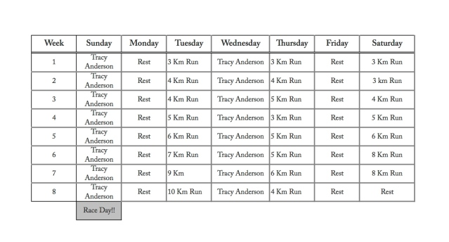 8 Week Running Schedule