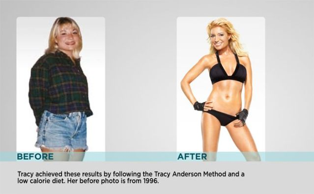 Tracy Anderson in 1996 Before & After Metamorphosis