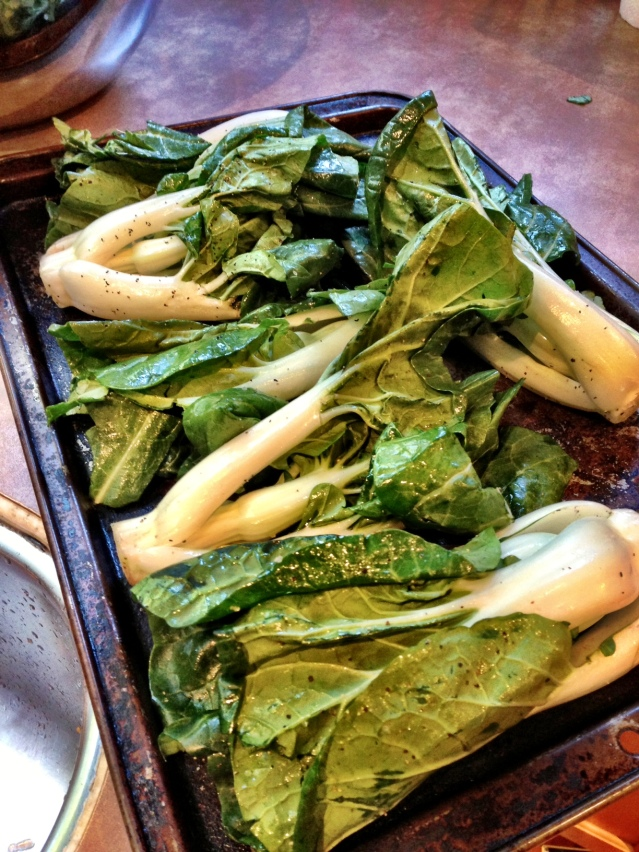 The recipe says nothing about Bok Choy but I decided to copy the photograph. I literally can not improvise anything when it comes to cooking.