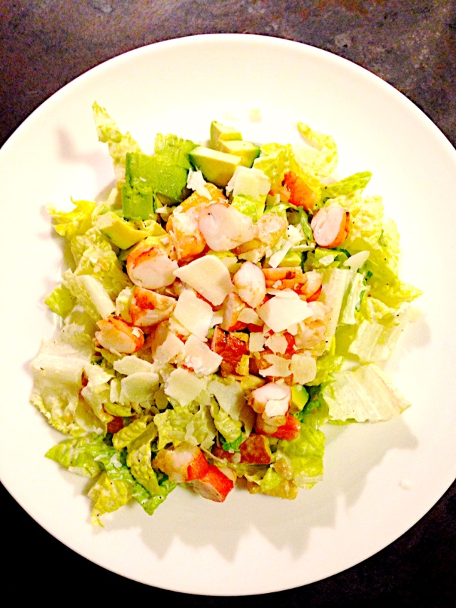 Shrimp Caesar with Avocado & Shaved Parm.